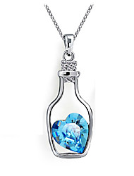 Heart-shaped Blue Crystal Wishing Bottle Necklaces Sterling Silver Clavicle Chain