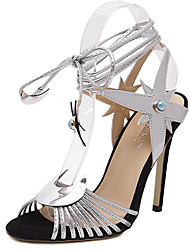 Women's Sandals Summer Sandals PU Casual Stiletto Heel Lace-up Silver / Gold Others