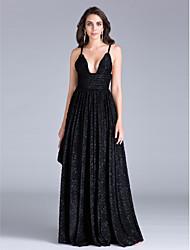 2017 ts Couture formels sangles gaine de robe de soirée / colonne spaghetti-parole longueur polyester avec châssis / ruban / volants