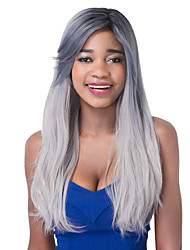Fashion Long Straight Silver Grey Synthetic Party Wig