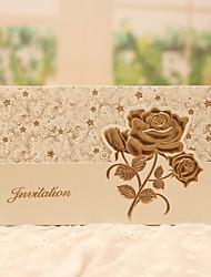 Personnalisé Plis Roulés Invitations de mariage Cartes d'invitation-50 Pièce/Set Style classique / Style floral Papier nacre