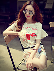 Pink Doll® Women's Loose Print Round Neck Short Sleeve T Shirt White-X15BTS067