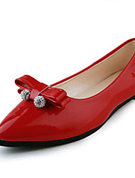 Women's Shoes Sweet Bowknot Crystal Patent Leather Comfort / Pointed Toe Flats Office & Career / Party & Evening