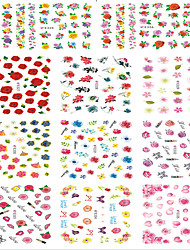 1pcs Include 11 Styles Nail Art  Stickers Simulate Design Colorful Rose Flowers Image E325-335