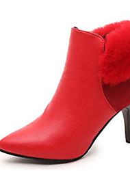 Feminino-Botas-Botas da Moda-Salto Agulha-Vermelho-Couro Ecológico-Casual
