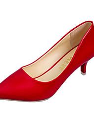 Feminino Saltos Couro Ecológico Verão Casual Salto Agulha Branco Preto Vermelho 5 a 7 cm