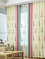 Coloured Embroider Cartoon Joint Curtain (Two Panel)