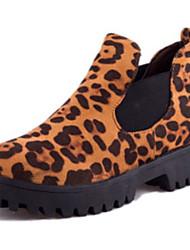 Calçados Femininos-Botas-Botas da Moda-Rasteiro-Preto / Marrom-Couro Ecológico-Casual