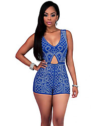 Women's Patchwork Hot Drilling Technology Cut Out Backless Fashion Jumpsuits,Sexy / Vintage Strap Sleeveless