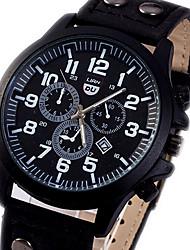 Unisex Sport Watch Quartz Calendar Chronograph Leather Band Sparkle Black Brown Green Khaki Brand