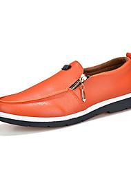 Herren-Outdoor-Lässig-PU-Flacher Absatz-Komfort-Schwarz / Weiß / Orange