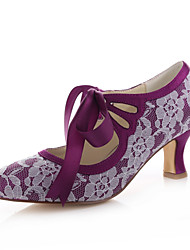 Women's Shoes Stretch Satin Spring / Summer / / Party & Evening / Dress Chunky Heel Ribbon Tie Purple
