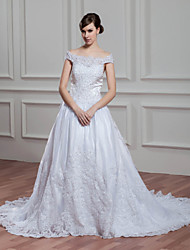 A-line Wedding Dress Court Train Off-the-shoulder Organza / Satin with Appliques / Beading