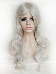 Color Cosplay Wig Silver 26 Inch High Temperature Curly Hair Silk Wig