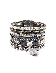 Fashion Women Multi Rows Stone Set Leather Bracelet