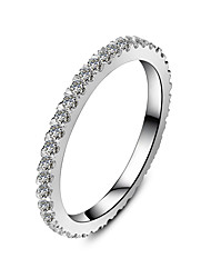 Sterling Silver Infinity Wedding Band Ring Fully Embed 0.55CT 18K White Gold Plated Brand Band for Women Diamond