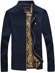 Men's Fashion European And American Style Stand Collar Casual Slim Fit Jacket, Plus Size/Zipper/Solid