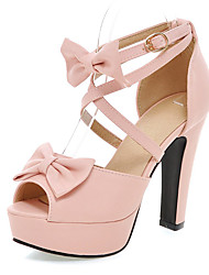 Women's Shoes Summer Peep Toe / Platform Heels Party & Evening Chunky Heel Bowknot / BuckleBlack / Pink / Purple /