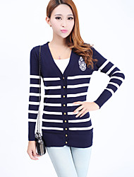 Women's Striped Blue / Red / Black Cardigan,Street chic Long Sleeve