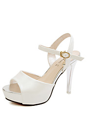 Women's Shoes PU Stiletto Heel Heels / Peep Toe Sandals Office & Career / Party & Evening / Casual Pink / White