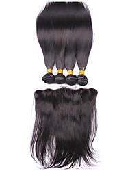Trama do cabelo com Encerramento Cabelo Brasileiro Retas 12 meses 4 Peças tece cabelo