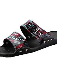 Men's Summer PU Casual Flat Heel Black / White / 1#