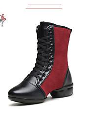 Zapatos de baile(Negro / Rojo) -Moderno-Personalizables-Tacón Plano