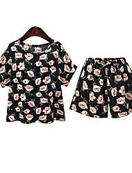 Damen Blumen Retro Lässig/Alltäglich T-shirt,Rundhalsausschnitt Sommer Kurzarm Schwarz Polyester Undurchsichtig