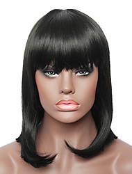 sin tapa de largo medio natural negro de la manera recta real de la peluca del pelo humano para las señoras