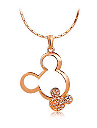 HKTC Women's Lovely Gift Jewelry Concise 18k Rose Gold Plated Crystal Cartoon Mouse Head Pendant Necklace
