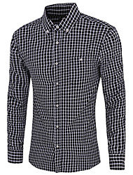 Men's Long Sleeve Shirt,Cotton Casual / Work / Formal Plaids