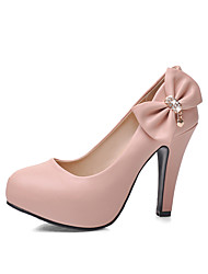Women's Shoes PU Summer / Fall Heels / Round Toe Office & Career / Casual Chunky Heel Bowknot / Sparkling GlitterBlue / Pink / White /