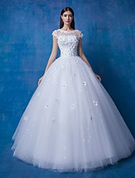 Ball Gown Wedding Dress Floor-length Scoop Lace / Satin / Tulle with Beading / Lace