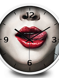 Creative Personality Sexy Red Lips Bedroom Metal Wall Clock
