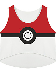 Inspired by Pocket Monster Ash Ketchum Anime Cosplay Costumes Cosplay Tops/Bottoms Print Red Sleeveless Top