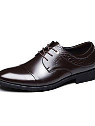 Men's Shoes Cowhide Party & Evening / Casual Oxfords Party & Evening / Casual Walking Low Heel Lace-up Black / Brown
