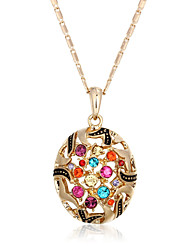 Fashion 18k Gold Plated Alloy Pendant Multicolor CZ Bohemia Hollow Necklaces & Pendants For Women