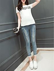 Maternity Plus Size Jeans Pants,Cotton Inelastic