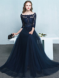 Formal Evening Dress A-line Bateau Floor-length Tulle with Appliques / Beading