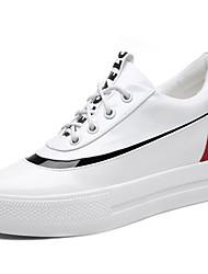 Damen-Sneaker-Lässig Sportlich-Lackleder-Flacher Absatz-Creepers-Schwarz Weiß