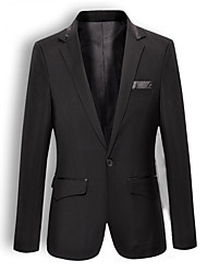 Suits Slim Fit Notch Single Breasted One-button Cotton Solid 2 Pieces Slanted Flapped None (Flat Front) Black None (Flat Front)