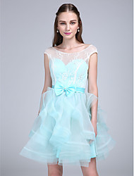Lanting Bride® Short / Mini Lace / Organza Bridesmaid Dress A-line Scoop with Bow(s) / Lace