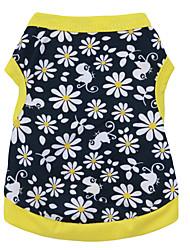 Коты / Собаки Футболка Желтый Одежда для собак Лето Цветочные / ботанический Мода