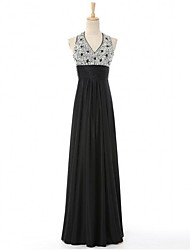 Formal Evening Dress - Color Block Sheath / Column V-neck Floor-length Satin with Beading