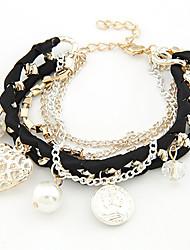 Bracelet Charmes pour Bracelets Alliage Imitation de perle Strass Nylon Mariage Soirée Quotidien Décontracté Bijoux Cadeau Doré,1pc