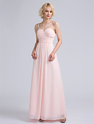 Ankle-length Spaghetti Straps Bridesmaid Dress - Open Back Sleeveless Chiffon