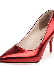 Feminino-Saltos-Saltos-Salto Agulha-Vermelho / Prateado-Couro Envernizado-Casual