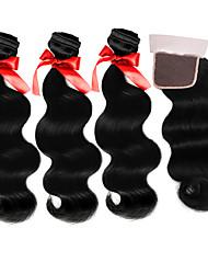 Trama do cabelo com Encerramento Cabelo Brasileiro Onda de Corpo 12 meses tece cabelo