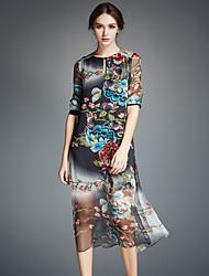 AFOLD® Femme Col Arrondi Manches 1/2 Genou Robes-5326