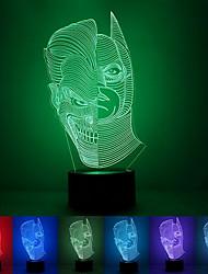 De duas faces criativo colorido usb 3d luz conduzida da noite